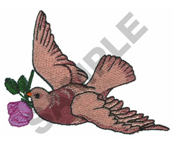 BIRD HOLDING FLOWER embroidery design