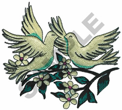 TWO WHITE DOVES embroidery design