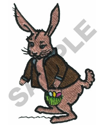RABBIT WITH EASTER BASKET embroidery design