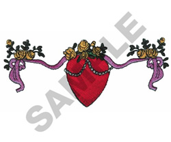 HEART WITH FLORAL BORDER embroidery design