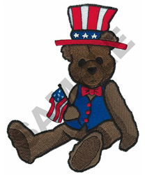 PATRIOTIC BEAR WITH FLAG embroidery design