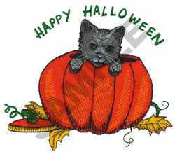HAPPY HALLOWEEN CAT AND PUMPKIN embroidery design