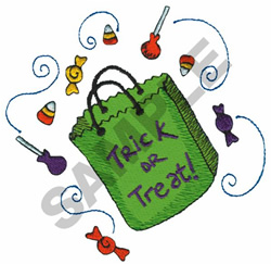 TRICK OR TREAT! CANDY BAG embroidery design