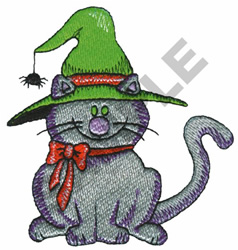 CAT W/WITCHES HAT embroidery design