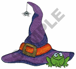 WITCH HAT AND FROG embroidery design