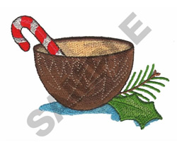 CANDY CANE IN COCONUT SHELL embroidery design