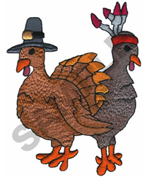 PILGRIM & INDIAN TURKEYS embroidery design