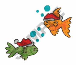 FISH IN SANTA HATS embroidery design