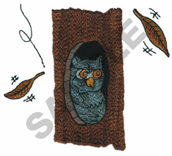OWL IN A TREE embroidery design