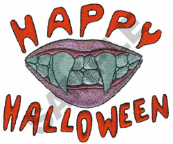 HAPPY HALLOWEEN FANGS embroidery design