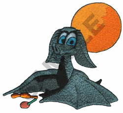 BAT UNDER THE MOON embroidery design