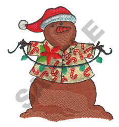 SNOWMAN AT THE BEACH embroidery design