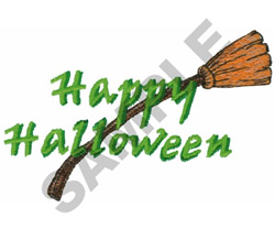 HAPPY HALLOWEEN BROOM embroidery design
