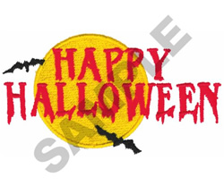 HAPPY HALLOWEEN BATS embroidery design