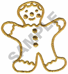 METALLIC GINGERBREAD MAN embroidery design