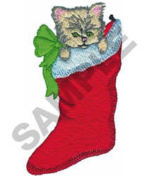 KITTEN IN CHRISTMAS STOCKING embroidery design