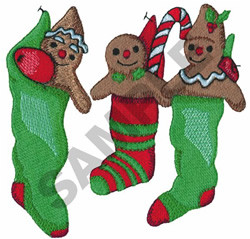 GINGERBREAD IN CHRISTMAS STOCKINGS embroidery design