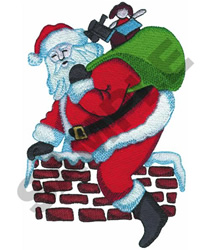 SANTA IN CHIMNEY embroidery design