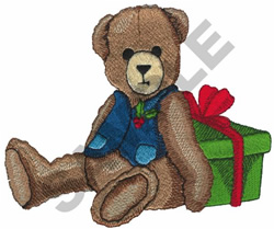 BEAR WITH CHRISTMAS GIFT embroidery design