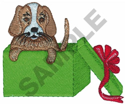 PUPPY IN GIFT BOX embroidery design