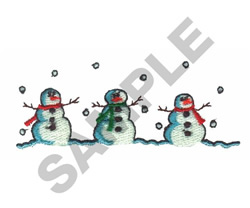 THREE SNOWMEN embroidery design