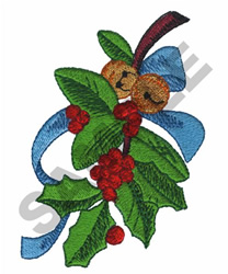 MISTLETOE WITH BELLS embroidery design