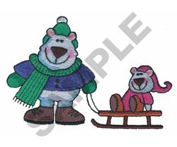 POLAR BEAR SLEDING embroidery design