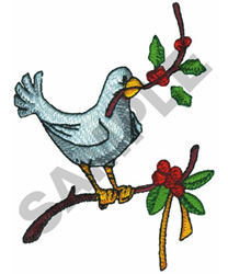 DOVE WITH HOLLY embroidery design