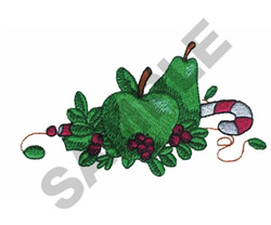 APPLE AND PEAR WITH CANDY CANE embroidery design