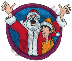SANTA WITH ELF embroidery design