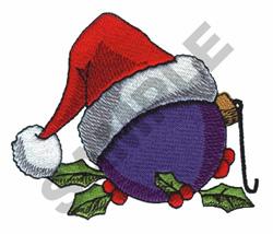 CHRISTMAS ORNAMENT W/SANTA HAT embroidery design