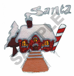SANTA CANDY CANE HOUSE embroidery design