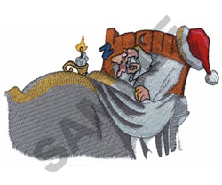 SANTA IN BED embroidery design