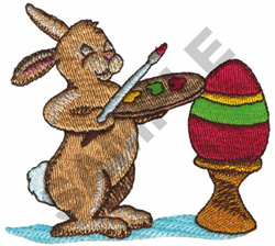 RABBIT PAINTING EASTER EGG embroidery design