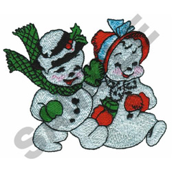 SNOWMAN & WOMAN embroidery design