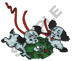PUPPIES PLAYING WITH WREATH embroidery design