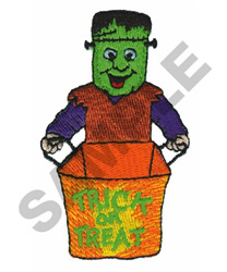 FRANKENSTEIN TRICK OR TREATER embroidery design
