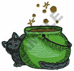 WITCHES POT W/BLACK CAT embroidery design