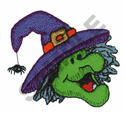 WITCH WITH SPIDER ON HAT embroidery design