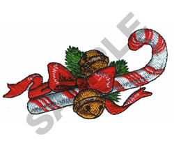 CANDY CANE AND BELLS embroidery design