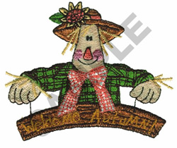 WELCOME AUTUMN SCARECROW embroidery design