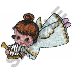 ANGEL PLAYING HARP embroidery design