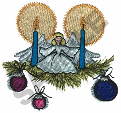 ANGEL HOLDING CANDLES embroidery design