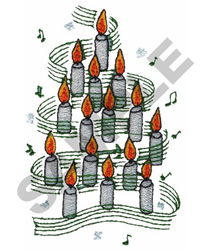 CANDLE CHRISTMAS TREE embroidery design