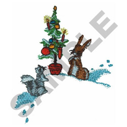CHRISTMAS TREE SCENE embroidery design