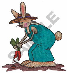 BUNNY PLANTING CARROTS embroidery design
