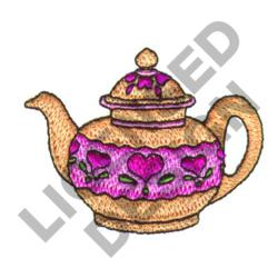 TEAPOT WITH HEARTS embroidery design