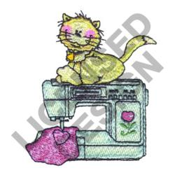 CAT ON SEWING MACHINE embroidery design