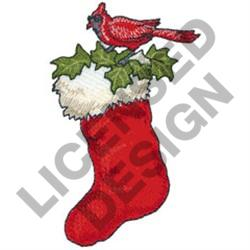 CHRISTMAS STOCKING & CARDINAL embroidery design