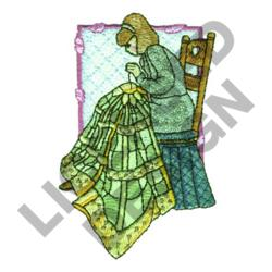 WOMAN HAND QUILTING embroidery design